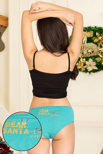 Front listing image for Mid Waist Christmas Print Hipster Panty in Light Blue - Cotton
