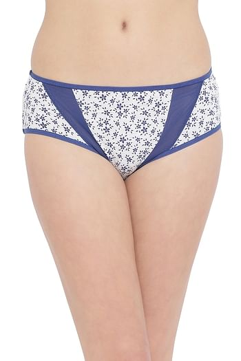 Front listing image for Mid Waist Floral Printed Hipster Panty with Mesh Panels in Grey- Cotton