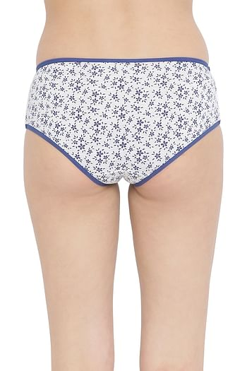 Back listing image for Mid Waist Floral Printed Hipster Panty with Mesh Panels in Grey- Cotton