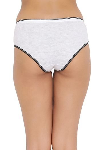 Back listing image for Mid Waist Hipster Panty in Light Grey - Cotton