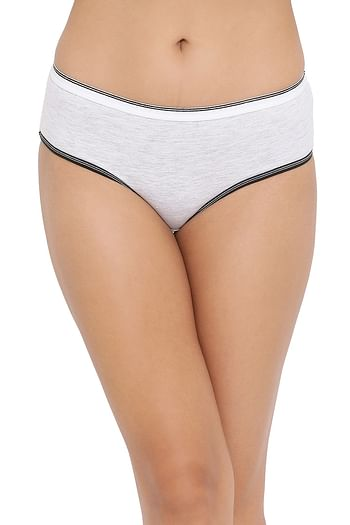 Front listing image for Mid Waist Hipster Panty in Light Grey - Cotton