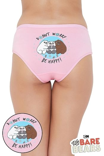 Front listing image for Mid Waist Hipster Panty with Printed Back in Light Pink - Cotton