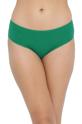 Back listing image for Mid Waist Hipster Panty with Printed Back in Dark Green - Cotton
