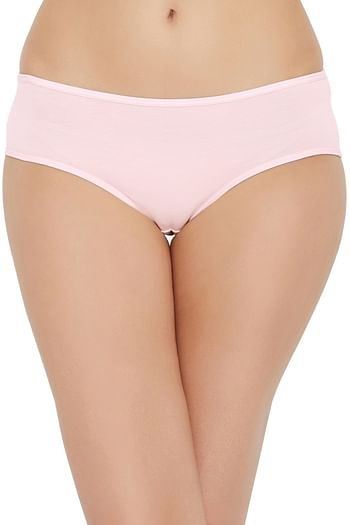Back listing image for Mid Waist Hipster Panty with Printed Back in Light Pink - Cotton