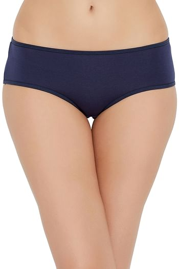 Back listing image for Mid Waist Hipster Panty with Printed Back in Navy - Cotton