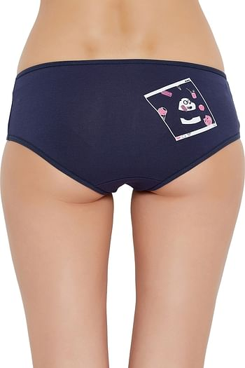 Front listing image for Mid Waist Hipster Panty with Printed Back in Navy - Cotton
