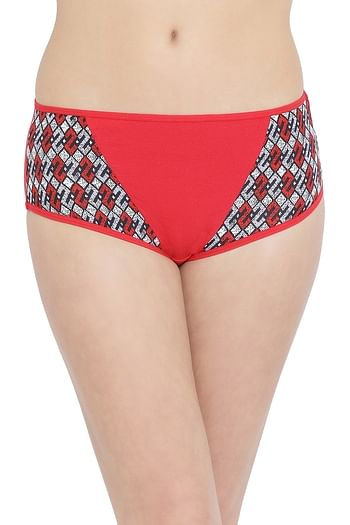 Front listing image for Mid Waist Hipster Panty with Printed Panels in Red - Cotton