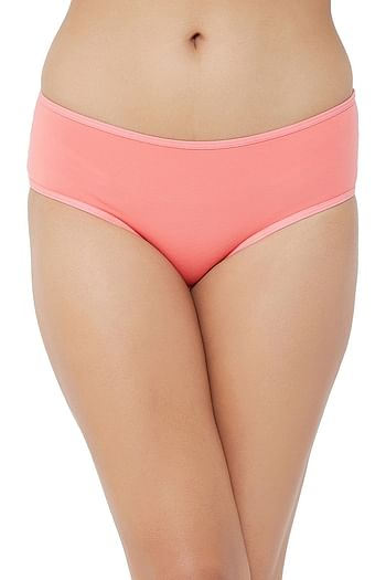 Back listing image for Mid Waist Printed Back Hipster Panty in Peach - Cotton