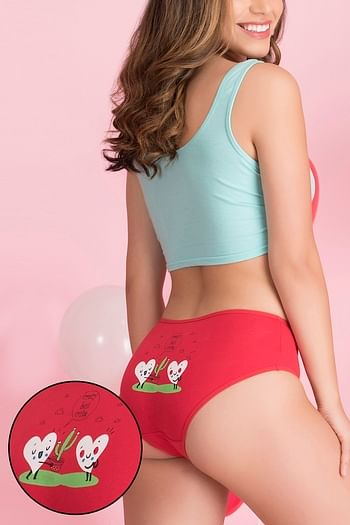 Front listing image for Mid Waist Printed Back Hipster Panty in Red - Cotton