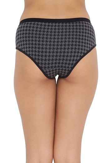 Back listing image for Mid Waist Printed Hipster Panty in Black - Cotton