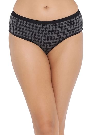 Front listing image for Mid Waist Printed Hipster Panty in Black - Cotton