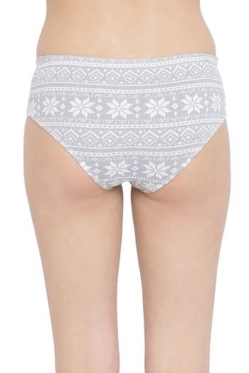 Back listing image for Mid Waist Printed Hipster Panty with Inner Elastic in Grey - Cotton