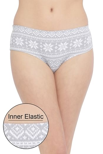 Front listing image for Mid Waist Printed Hipster Panty with Inner Elastic in Grey - Cotton