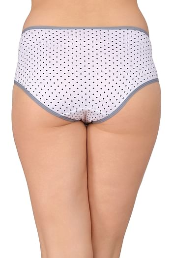 Back listing image for Mid Waist Polka Print Hipsters with Powernet Panels