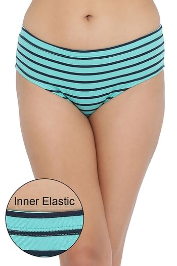 Front listing image for Mid Waist Striped Hipster Panty with Inner Elastic in Light Green - Cotton