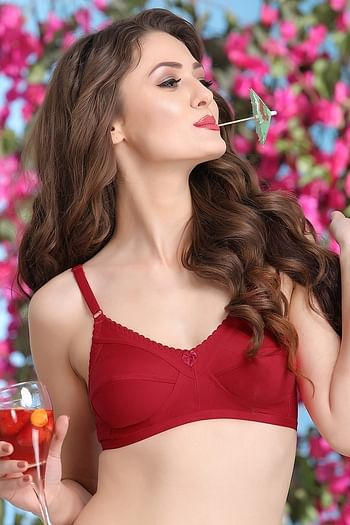 Front listing image for Cotton Rich Non-padded Full Support Bra In Maroon