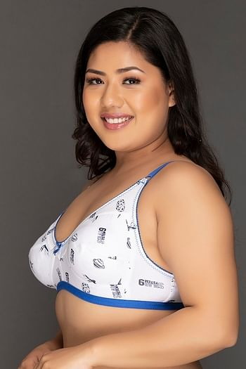 Back listing image for Non-Padded Non-Wired Printed Bra in White - Cotton Rich
