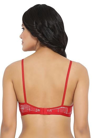 Back listing image for Non-Padded Non-Wired Printed T-Shirt Bra in Red- Cotton Rich