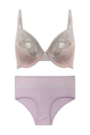 Front listing image for Non-Padded Underwired Bridal Bra with Hipster Panty in Light Pink - Lace