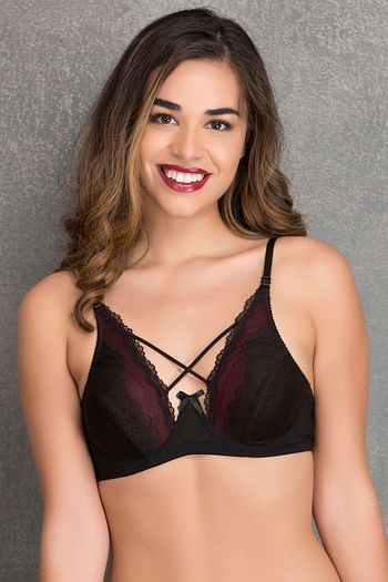 Front listing image for Non-Padded Underwired Bridal Bralette in Black - Lace