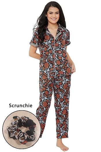 Front listing image for Floral Print Button Down Shirt & Pyjama Set in Black - Satin