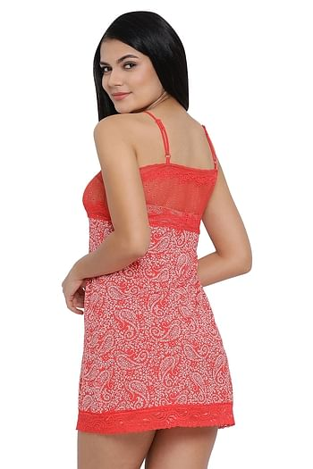 Back listing image for Printed Babydoll with Lace Bust in Red