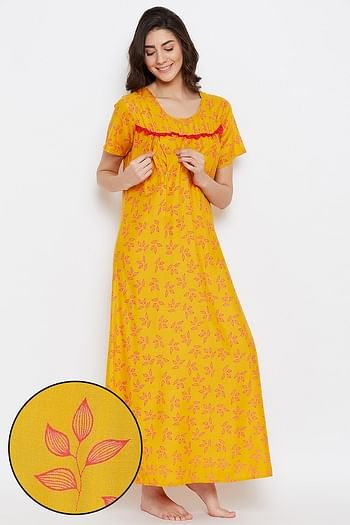 Front listing image for Leaf Print Long Night Dress in Light Yellow - 100% Cotton
