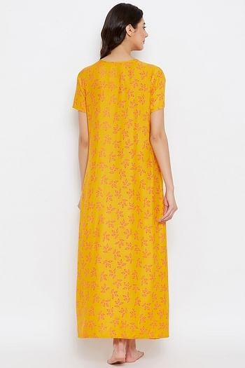 Back listing image for Leaf Print Long Night Dress in Light Yellow - 100% Cotton