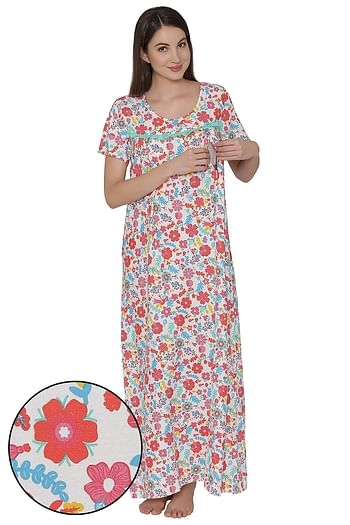 Front listing image for Maternity Floral Print Night Dress In White - Cotton