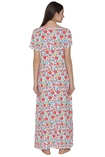 Back listing image for Maternity Floral Print Night Dress In White - Cotton