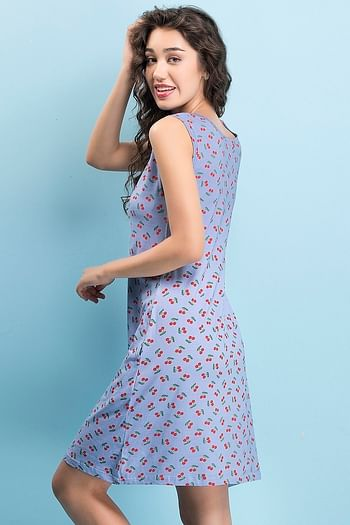 Back listing image for Cotton Rich Cherry Print Short Night Dress In Blue