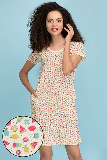 Front listing image for Cotton Rich Fruit Print Short Night Dress In Yellow