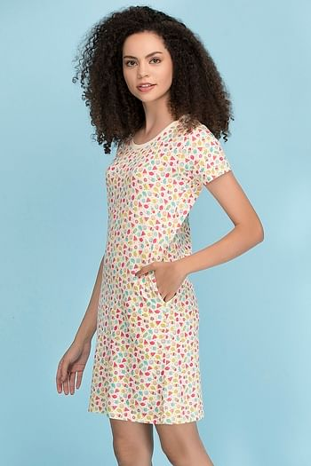 Back listing image for Cotton Rich Fruit Print Short Night Dress In Yellow
