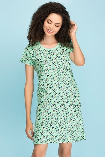 Back listing image for Cotton Printed Short Night Dress
