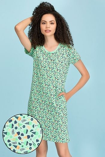 Front listing image for Cotton Printed Short Night Dress