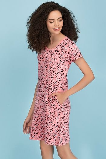 Back listing image for Cotton Rich Printed Short Night Dress In Pink