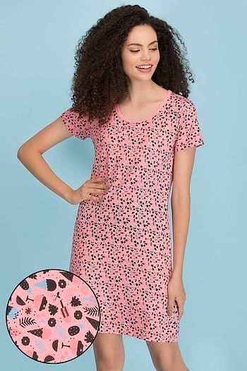 Front listing image for Cotton Rich Printed Short Night Dress In Pink