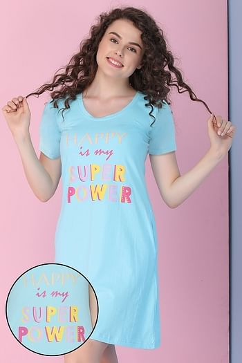 Front listing image for Cotton Text Print Short Night Dress