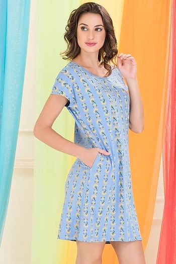 Back listing image for Cotton Printed Short Night Dress In Purple