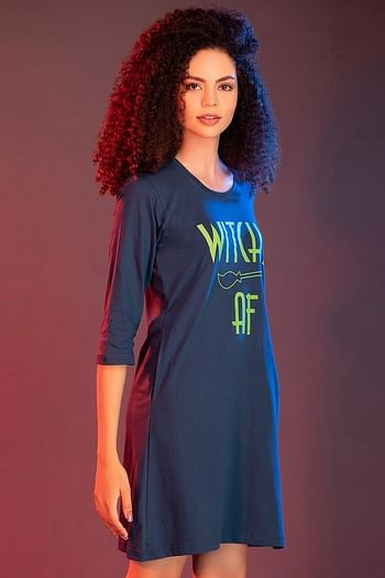 Back listing image for Cotton Printed Full Sleeves Short Nightdress In Blue