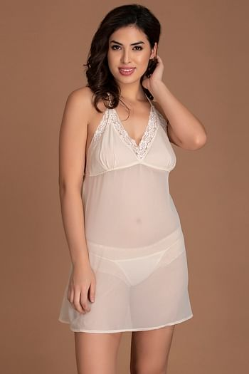 Front listing image for Sheer Babydoll with Thong in White - Georgette