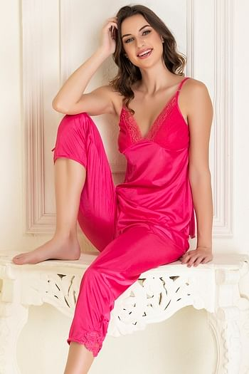 Front listing image for Top & Pyjama Set in Pink- Satin
