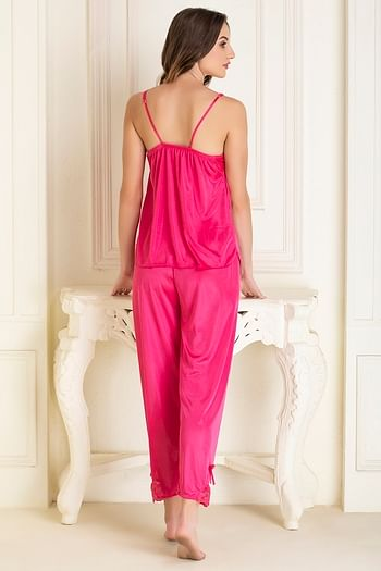 Back listing image for Top & Pyjama Set in Pink- Satin
