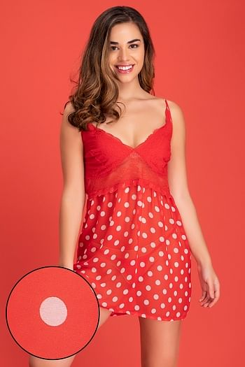 Front listing image for Sheer Polka Print Bridal Babydoll with Thong in Red - Georgette & Lace