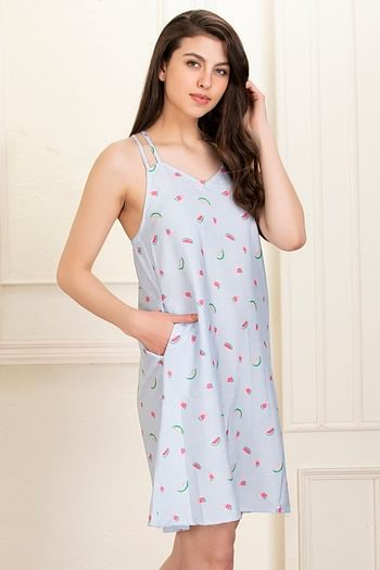 Back listing image for Fruit Print Night Dress in Blue - Cotton Rich