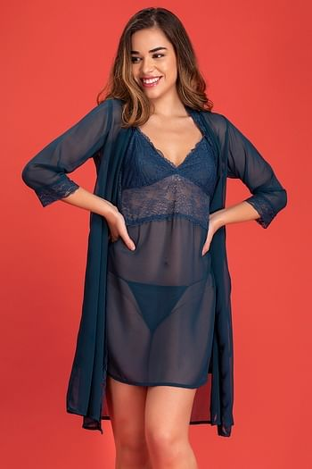 Back listing image for Babydoll with Robe & Matching Thong in Navy Blue - Lace
