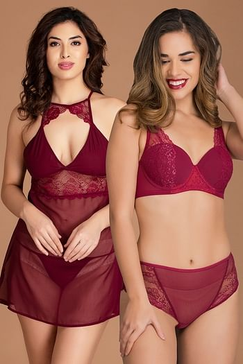 Front listing image for Bra Panty Set with Babydoll & G-string in Maroon