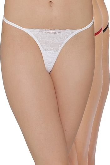 Front listing image for Pack of 3 Low Waist G-String Panties- Lace