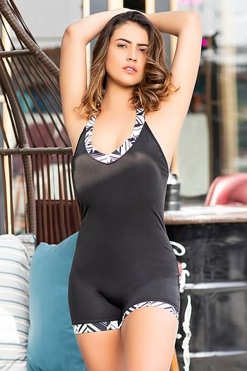 Front listing image for Padded Bodysuit Swimwear in Black