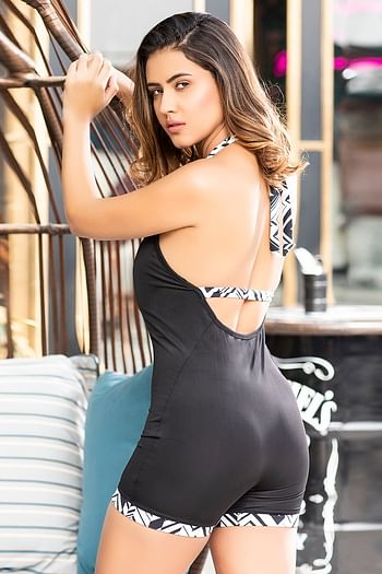 Back listing image for Padded Bodysuit Swimwear in Black